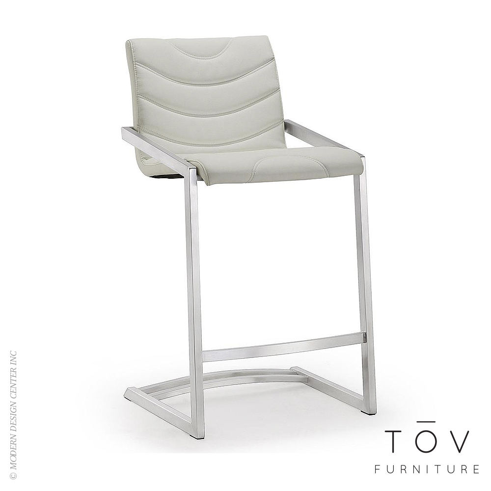 Rio Light Grey Stainless Steel Counter Stool, Set of 2 | Tov Furniture