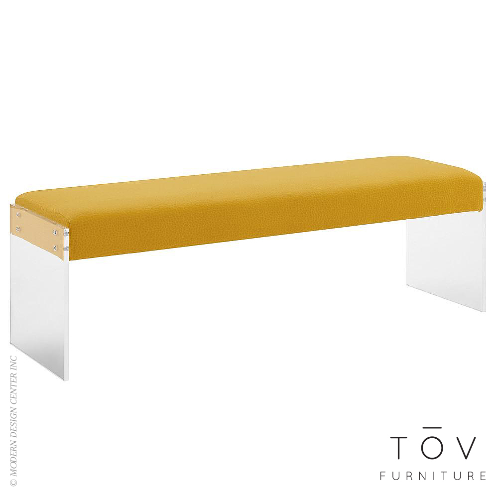 Sunshine Pebbled Velvet Bench | Tov Furniture