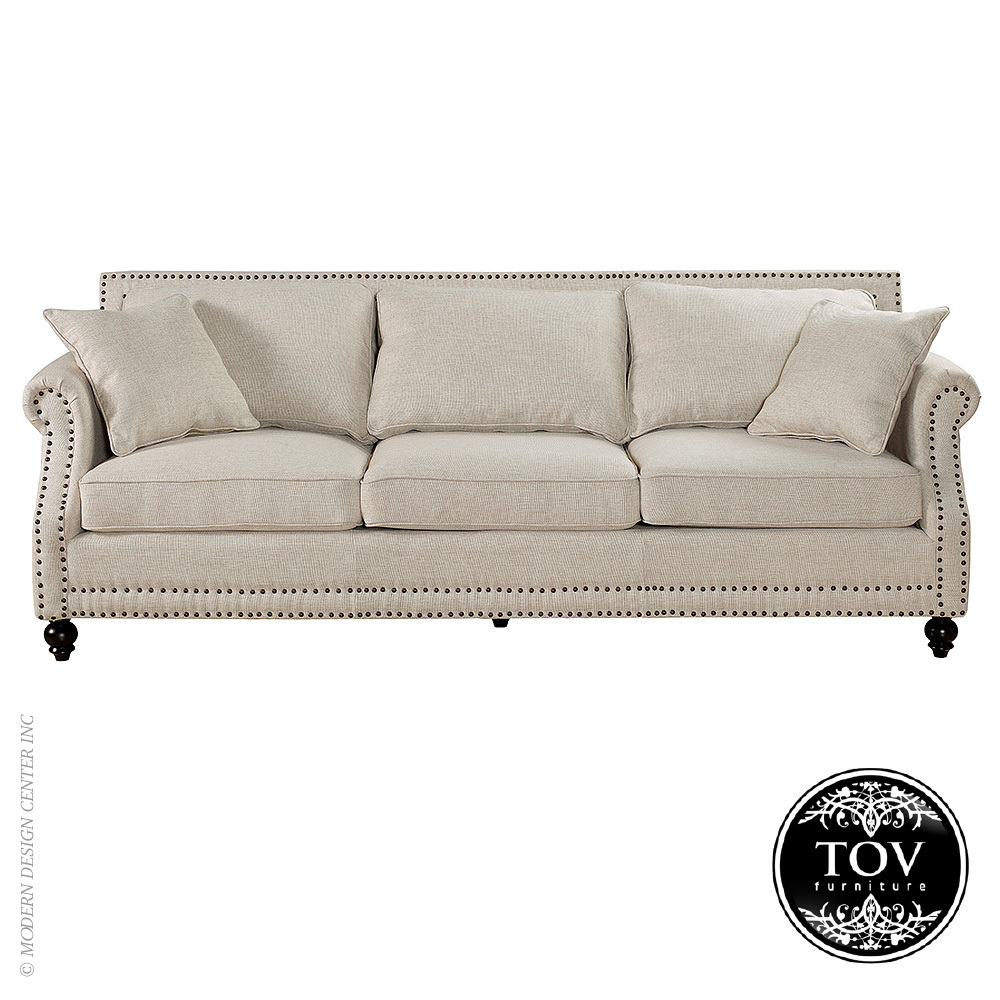 Camden Beige Linen Sofa Tov Furniture