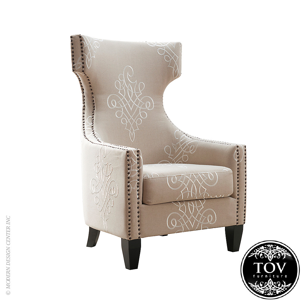 Gramercy Embroidered Linen Wing Chair | Tov Furniture | MetropolitanDecor