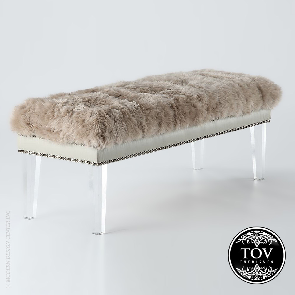 Luxe Brown Sheepskin Lucite Bench | Tov Furniture