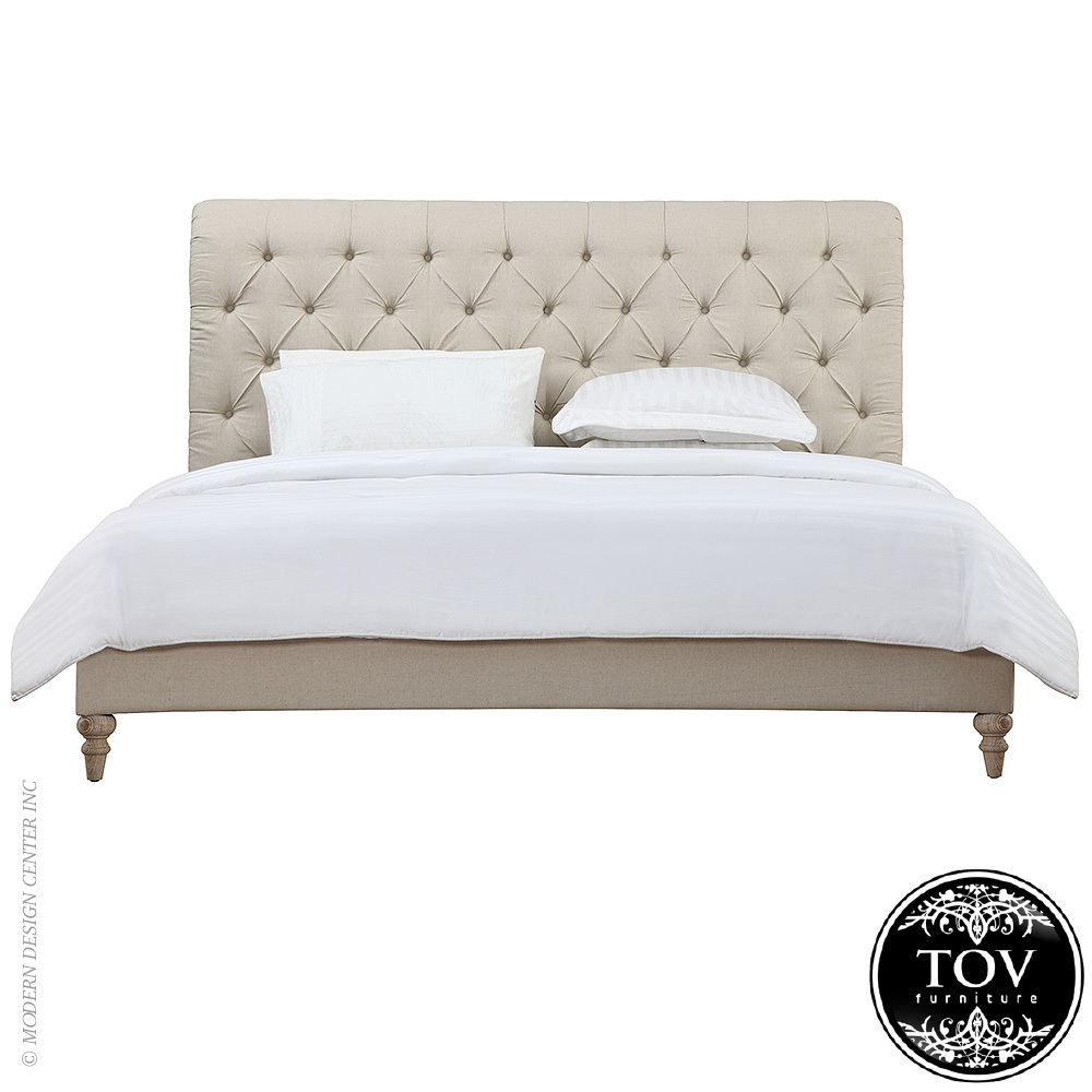 Oxford Beige Linen Bed in Queen | Tov Furniture | MetropolitanDecor