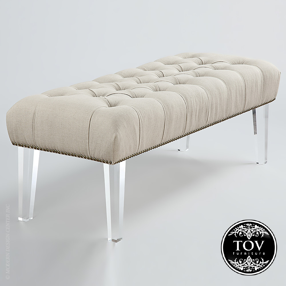 Stella Beige Linen Acrylic Bench | Tov Furniture