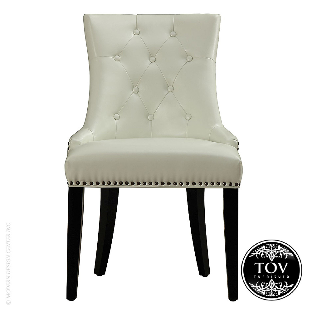 Uptown Cream Leather Dining Chair | Tov Furniture