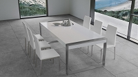 Savant Dining Table, Matte White/Brushed Stainless Steel | B-Modern