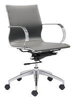 Glider Low Back Office Chair in Gray | Zuo
