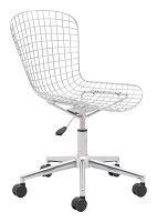 Wire Office Chair in Chrome and White Cushion | Zuo