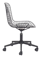 Wire Office Chair in Black and Black Cushion | Zuo