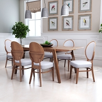 Zuo Modern Regents Dining Chair Walnut Gray Set of 2