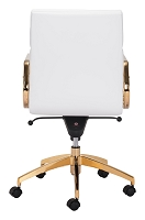 Scientist Low Back Office Chair in White and Gold | Zuo