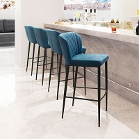 Zuo Modern Tolivere Bar Chair Blue Set of 2