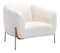 Micaela Arm Chair in Ivory and Gold | Zuo