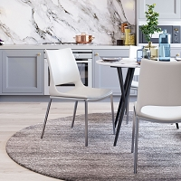 Zuo Modern Ace Dining Chair White Silver Set of 2