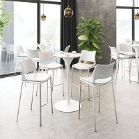 Zuo Modern Ace Bar Chair White Silver Set of 2