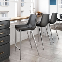 Zuo Modern Magnus Counter Chair Black Silver Set of 2