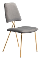 Chloe Dining Chair in Gray and Gold set of 2 | Zuo