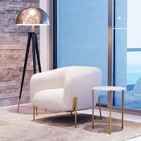 Zuo Modern Haru Side Table White Gold