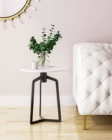 Zuo Modern Rand Marble Side Table White Black