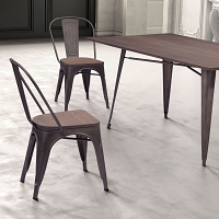 Zuo Modern Elio Dining Chair Rustic Black Brown Set of 2