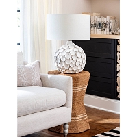 Lucia Ceramic Table Lamp in White | Coastal Living