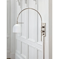 Heron Sconce in Polished Nickel and White | Coastal Living