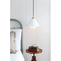 Hilton Pendant White and Natural Brass | Regina Andrew