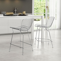 Zuo Modern Wire Counter Chair Chrome Set of 2