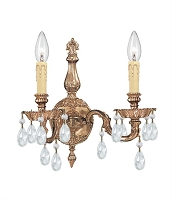 2 Light Crystal Cast Olde Brass Wall Mount | Crystorama