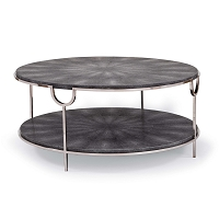 Regina Andrew Vogue Shagreen Cocktail Table Charcoal and Polished Nickel