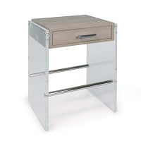 Regina Andrew Lucite End Table Ivory Shagreen