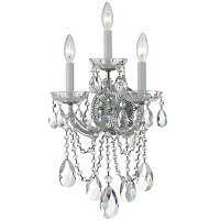 Maria Theresa 3-Light Swarovski Strass Crystal Chrome Sconce I | Crystorama