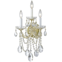 Maria Theresa 3-Light Clear Crystal Gold Sconce I | Crystorama