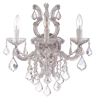 Maria Theresa 3-Light Clear Crystal Chrome Sconce III | Crystorama