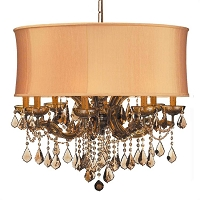 Brentwood 12-Light Swarovski Strass Golden Teak Crystal Brass Drum Chandelier | Crystorama