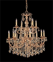 Etta 12 Light Golden Teak Swarovski Strass Crystal Chandelier | Crystorama