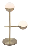 Waterloo Table Lamp in White and Brushed Brass | Zuo