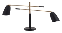 Tanner Table Lamp in Matte Black and Brass | Zuo