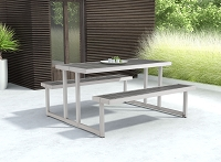 Zuo Modern Cuomo Picnic Table Brushed Aluminum