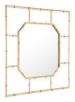 Bamboo Square Mirror in Gold | Zuo