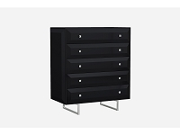 Abrazo Chest 5 Drawers High Gloss Black | Whiteline