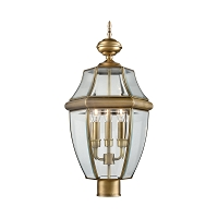 Ashford 3-Light Post Lantern in Antique Brass - Large | Thomas Lighting