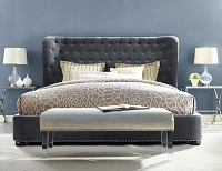 Tov Furniture Finley Grey Velvet Bed King Size