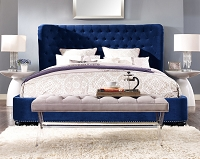 Tov Furniture Finley Blue Velvet Bed Queen Size