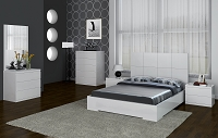 Anna Bed Full High Gloss White | Whiteline
