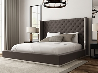 Abrazo Bed King Dark Grey Leather | Whiteline