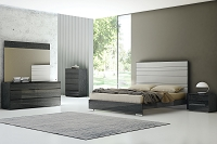 Malibu Bed King High Gloss Grey | Whiteline