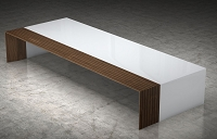 Percussionist Coffee Table White/Walnut | B-Modern