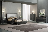 Navi Bed Queen High Gloss Grey Taupe Leather | Whiteline