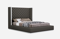 Abrazo Bed Queen Dark Grey Leather | Whiteline