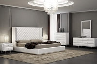 Abrazo Bed Queen White Leather | Whiteline